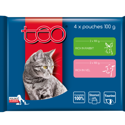 Teo pouches for cats rich in rabbit and veal
