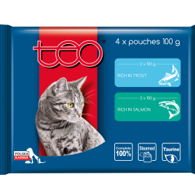 Teo pouches rich in trout & rich in salmon
