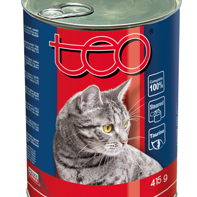 Teo wet cat food rich in beef