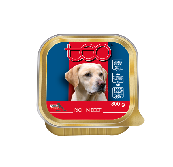 Teo pate for dogs rich in beef
