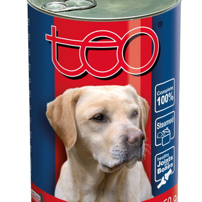 Teo wet food for dogs rich in beef