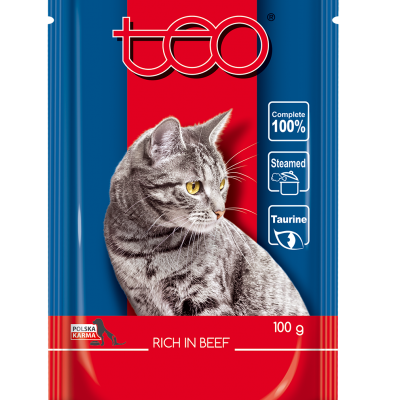 Teo pouch rich in beef